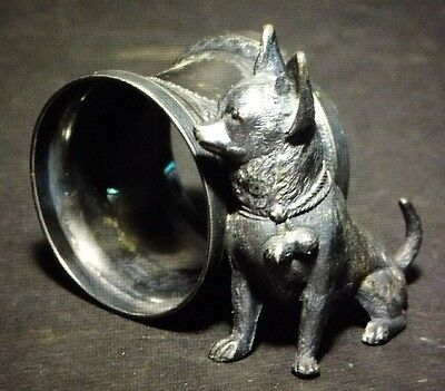 Antique Victorian Napkin Ring With Chihuahua Dog By Reed & Barton #1445