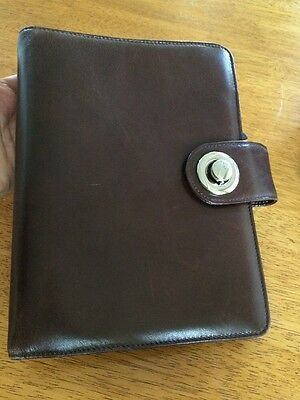 """Franklin Covey Brown Leather Classic Binder 7 Rings 1.2"""""""