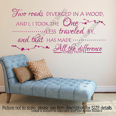 Two roads diverged- Robert Frost Quote Vinyl Wall Art Stickers inspiring Decals