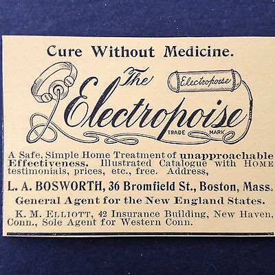 Antique 1896 Print Ad{C16}~The Electropoise Cure Home Treatment