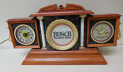 Vintage  Busch Beer Lighted Sign With Clock  -  Vintage Advertising