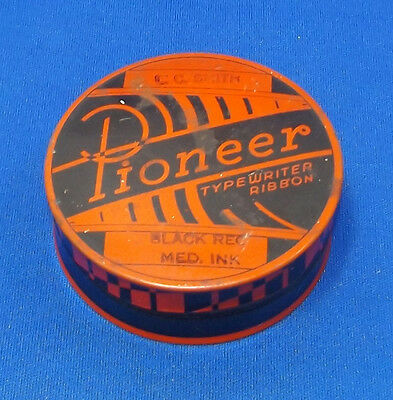 vtg Antique Pioneer Typewriter Tin Can Crown Ribbon & Carbon Co. Rochester, NY
