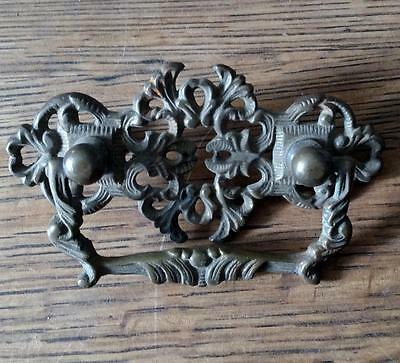 Vintage BRASS Pull Drawer Art Nouveau Victorian? Ornate Cast Bail Pull   #C23