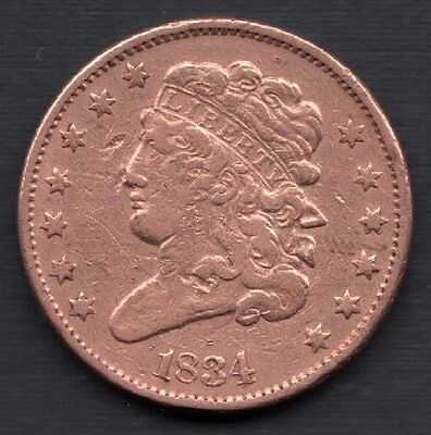 1834 Classic Head Copper Half Cent - No Reserve