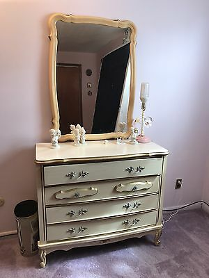 Dixie French Provincial Style Dresser With Mirror, White, Wood