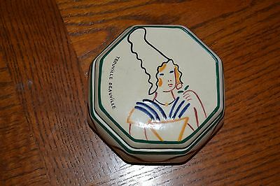 French Faience Breton Woman Powder Box Hand Painted Signed Pottery