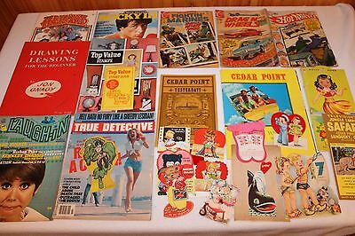 NICE LOT of EPHEMERA ADS ,MAGAZINES, MANUALS, CARDS, 29 PIECES ALL VINTAGE