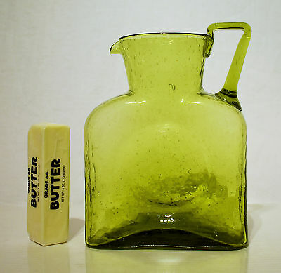 Early Blenko #384H Water Bottle with Handle in Chartreuse