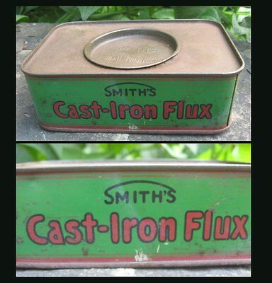 antique 1910 Smiths Cast Iron Flux Tin Advertising w contents Brazing Welding