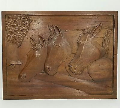 """Wood Horse Relief Carving All In One Piece Including Frame 17 1/2"""" x 13 1/2"""""""