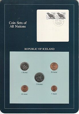 Coins of All Nations Set - Iceland - 5 Coins 1981
