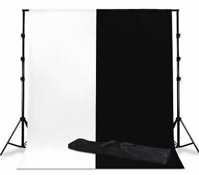 Photography 20x10' Muslin Black and White Backdrop Stand Kit Photo Set Studio