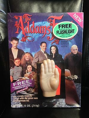 1991 Sealed Addams Family Cereal With Thing Flashlight Autographed