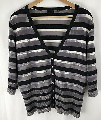 Tribal Women's Striped snap shirt size Large 3/4 sleeve