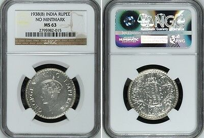 British India King George VI 1938 (B) Rupee NGC MS-63 Silver Coin RARE