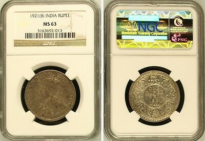 British India King George V 1921 (B) Rupee NGC MS63 Key Date Silver Coin