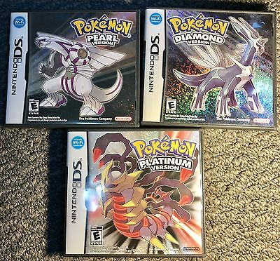 Pokemon DS Game Lot Of 3 Diamond Pearl Platinum BOXED COMPLETE