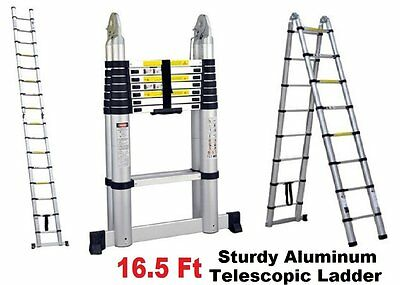 ProLad Portable 16.5 Feet Telescoping Aluminum Extension Ladder Heavy Duty, 12 S