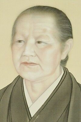 Hanging Scroll Japanese old women Painting Antique Japan art Asian Picture b079