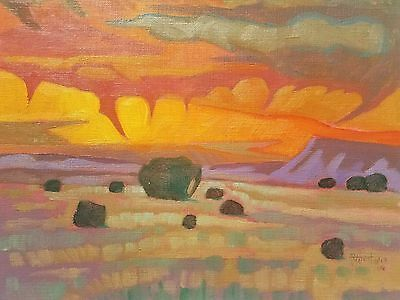 """Original Southwest Small Oil Painting - """"Virga in the Sunlight"""" by Art West"""