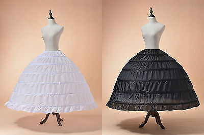 White Black Full Petticoat Wedding Ball Gown Crinoline Underskirt Slips 6 Hoop