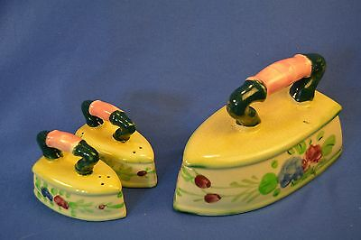 Vintage Porcelain Iron Shaped Salt And Pepper Shakers And Cheese