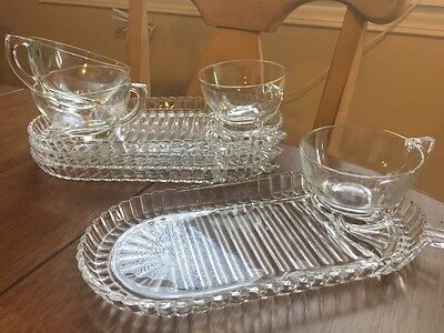 RARE Vintage Glass Ribbed Plate & Cup Snack 8 pc. Set - 1950's?