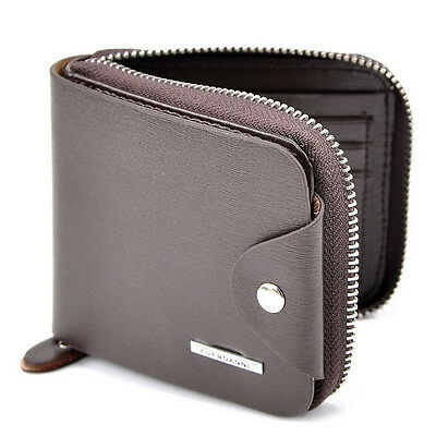 Men's Bifold Zipper Leather ID Credit Card Holder Clutch Billfold Purse Wallet