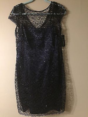 Cachet dress womans size 12 evening party/formal/ mother of the bride navy NWT!