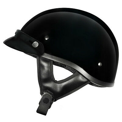Motorcycle M2R Rebel Shorty Helmet M2R Skull Helmet Gloss Black - Large W/ Peak