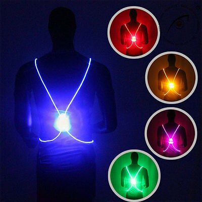 Running Cycling Reflective LED Fiber Light Vest Night High Visibility Vests