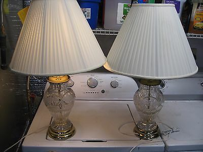 Pair Of Vintage Cut Glass Crystal Lamps No Reserve