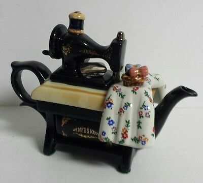 Paul Cardew Design Teapot - Infusion Sewing Machine Flowers/ Floral England