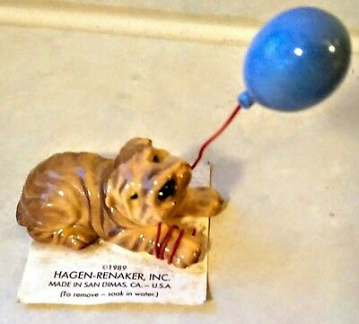 Retired Hagen Renaker Miniature Ceramic DOG Shar Pei With Balloon