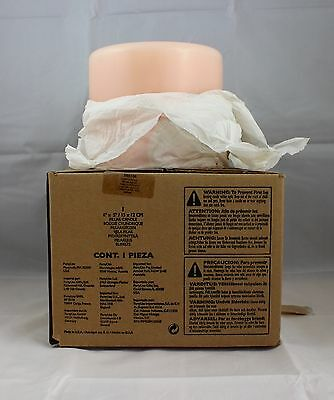 Partylite 6 x 5 Pillar Candle Vanilla Peach 3 Wick Candle New In Box