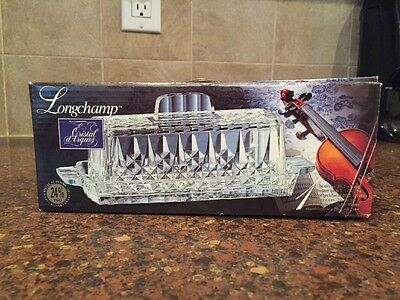 Nib 1978 Cristal D'arques  24% Lead Crystal Butter Dish Longchamp Clear Pattern
