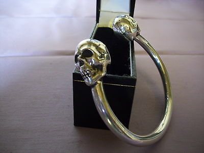 MEN'S SILVER SKULL TORQUE BANGLE, SOLID, HANDCRAFTED  104g