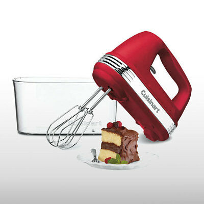 Cuisinart HM-90RSA Red 9 Speed Electric Hand Mixer w/ Storage Case LED 220W