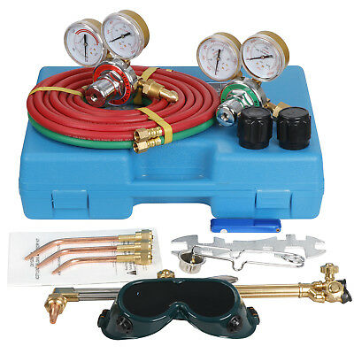 Gas Welding & Cutting Kit Acetylene Oxygen Torch Set Regulator w/ Free 3 Nozzles