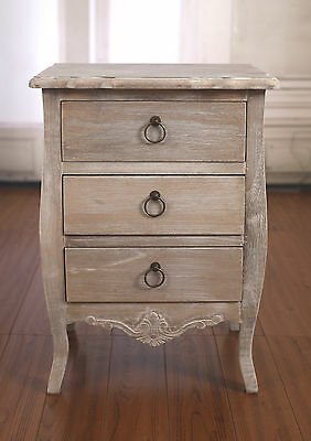 Bedside Chest French Provincial Grey Wash Bedside Table Night Stand 3 Drawer NEW