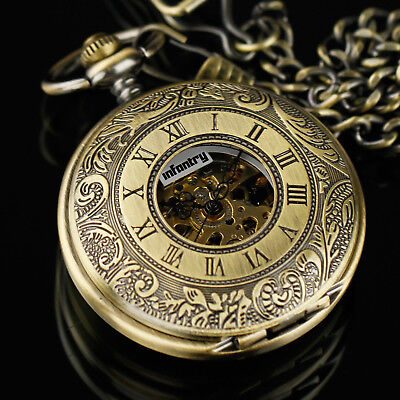 Pacifistor Mechanical Skeleton Pocket Watch Vintage Antique Style Steampunk Gift