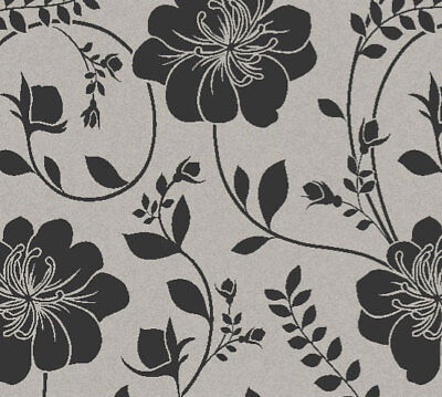 Black Silver Flowers Wallpaper Twilight Metallic Floral Feature Wall
