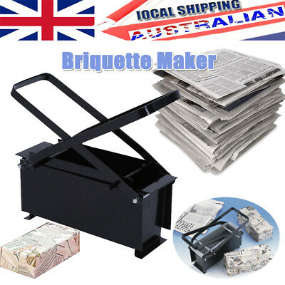 Paper Briquette Log Maker for Fire Place BBQ Recycle Newspaper Brick Block NEW