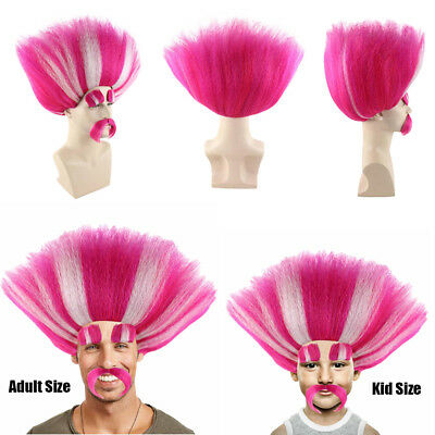 King Peppy Troll Style Pink White Cosplay Party Costume Full Wig Mustache HM-110