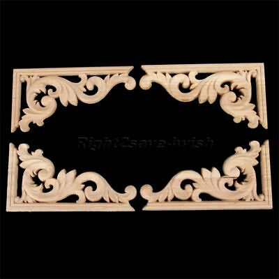 Beautiful Wood Carved Corner Onlay Applique Frame Door Wall Furniture Decorative