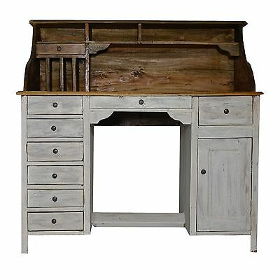 Desk Bureaux Dressing Table Drawer Rustic White Solid Wood Country Style