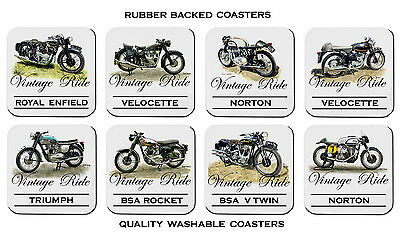Vintage Motor Bikes Norton Triumph Bsa Velocette Royal Enfield Set Of 8 Coasters