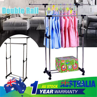 Clothes Rack Metal Garment Display Rolling Double Rail Hanger Dryer Stand Adjust