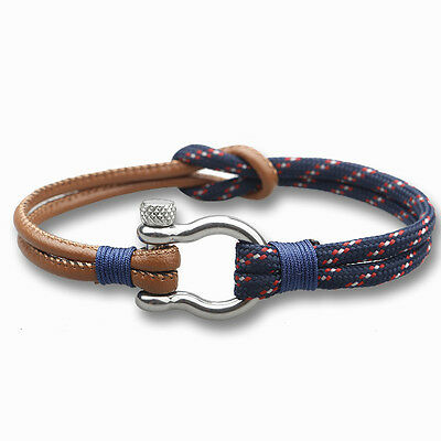 Men Women Paracord Rope&PU Wrapped U Shaped Stainless Steel Clasp Bracelet