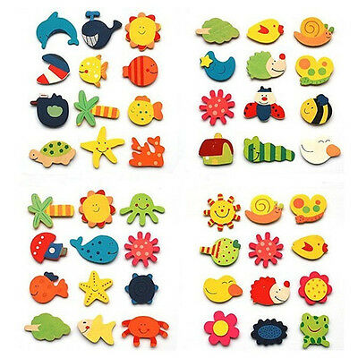 12Pcs Colorful Wooden Carton Animal Sunflower Fridge Magnet Kid Education Toy